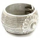 Silver Colored Bracelet Hinge Bangle Metal Casting Texture 1 3 4 Inch Width 32228-35403ASSIV