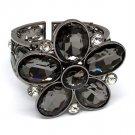 Black Bracelet Stretch Bangle Crystal Stone Faceted Flower Various Cut 2 3 4 Inch Wi 310227-501BNBKA
