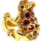 Brown Ring Adjustable Stretch Glass Stone Crystal Studs Frog Crown Texture 1 1 4 In 3101827-519GDBRO