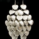 Silver Colored Earring Fish Hook Cascade Valentine Hearts Various Patterns On Hearts 25185-1231RDSIV