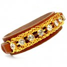 Brown Bracelet Button Faux Leather Crystal Stone Metal Chain Multi Chain 20 Mm Width 25182-8898GDBRO