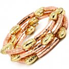 Brown Bracelet Spiral Stretch Heart Patterns Natural Looking Dents Texture 20 Mm Wi 25182-20268TTBRO