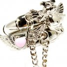 Silver Colored Ring Adjustable Stretch Stackable 2 Ring Set Pig Wing Angel Enamel L 251818-2048RDSIV