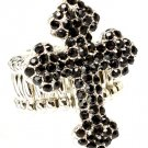 Black Ring Adjustable Stretch Cross Religious Crystal Studs 1 1 4 Inch Tall 251818-20339RDBLK