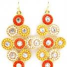 Orange Earring Fish Hook Glass Stones Beads Diamond Shape 2 Inch Drop 2435-1238GDORG