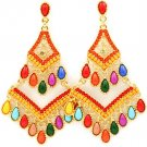 Multi Colored Earring Post Earring Beads Formica Retro Pattern 3 1 4 Inch Drop 2435-1233GDMLT