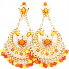 Orange Earring Post Earring Chandelier Drop Formica Beads Texture 2 3 4 Inch Drop 2435-1215GDORG
