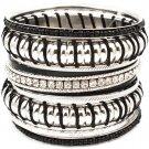 Black Bracelet Bangle Stackable Crystal Studs Threads Beads Various Hoops Texture 2 1 2432-7036RDBLK