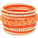 Orange Bracelet Bangle Stackable Rhinestones Roses Formica Various Hoops 2 Inch Width 2432-6963GDORG