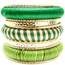 Green Bracelet Bangle Stackable Fabric Texture 3 Inch Width 2432-6533GDGRN