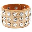 Gold Colored Bracelet Button Faux Leather Stars Glass Stones 1 1 2 Inch Width 7 1 2 I 2432-2226RDGOD