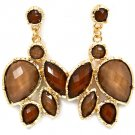 Brown Earring Post Earring Formica Various Cuts Faceted 2 Inch Drop 23145-0217GDBRO