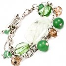 Green Bracelet Toggle Acyrlic Stones Faceted Beads Marbles Multi Strands 7 1 2 Inch 21972-20001RDGRN