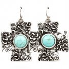 Turquoise Earring Fish Hook Cross Flower Texture Turquoise Stone 1 1 2 Inch Drop / 219205-3223SOTUQ