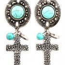 Turquoise Earring Clip On Oval Cross Turquoise Stone Texture 2 1 2 Inch Drop / 219205-3206SOTUQ