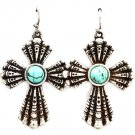 Turquoise Earring Fish Hook Cross Texture Turquoise Stone 1 1 2 Inch Drop / 219205-3203SOTUQ