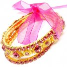 Pink Bracelet Stretch Stackable Glass Stones Crystal Studs Prong Set Ribbon 20 Mm W 219202-2039GDPNK