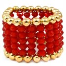 Red Bracelet Stretch Beads Mixed Beads Multi Strands 1 3 4 Inch Width 218192-10421GDRED