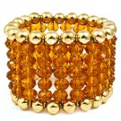 Brown Bracelet Stretch Beads Mixed Beads Multi Strands 1 3 4 Inch Width 218192-10419GDBRO