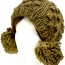 Green Hat And Cap Knit Trappers Pompoms Cold Weather 100% Acrylic One Size / 21318-99109GRN