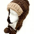 Brown Hat And Cap Knit Trappers Pompoms Cold Weather 100% Acrylic One Size / 21318-99101BRO