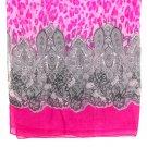 Fuschia Fashion Scarf Leopard Print Paisley 100% Polyester 36 Inch X 76 Inch / 21316-3657FSH