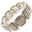 Clear Bracelet Stretch Square Shapes Crystal Studs Texture 18 Mm Width 21692-3093ASCLR