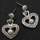 Silver Colored Earring Post Earring Metal Casting Heart Texture Pierced 15 Mm Drop 210155-1273ASSIV