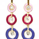Multi Colored Earring Post Earring Crystal Studs Enamel Rings 2 1 2 Inch Drop 210155-0830GDMLT