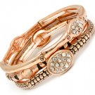 Clear Bracelet Stretch Stackable Crystal Studs Various Patterns Various Hoops 1 In 210152-02909COCLR