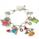 Multi Colored Bracelet Toggle Charm Bridge Jewelry Heart Angel Pierced Texture Des 210152-00028ASMLT