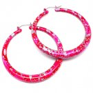 Fuschia Earring Pin Catch Hoop Paint Mottled Match With Aiib99231 2 1 2 Inch Drop 1995-99701FSH