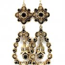 Black Earring Fish Hook Formica Texture Rosette Tear Drop Crystal Studs 4 Inch Drop 1995-99057AGBLK