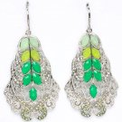 Green Earring Linear Drop Metal Casting Crystal Studs Bead 2 1 4 Inch Drop 1965-99853RDGRN