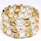 Orange Bracelet Stretch Crystal Studs Metal Casting 1 1 2 Inch Width 1962-99187TTORG