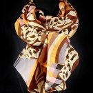 Brown Fashion Scarf Animal Print Silk Feel 30% Silk 70% Polyester 27.5 Inch X 78 Inch / 4566-9942BRO