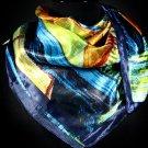 Blue Fashion Scarf Satin Square Scarf Street Restaurant Print 30% Silk 70% Polyester 3 45196-9931BLU