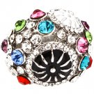 Multi Colored Ring Adjustable Stretch Crytal Studs Acrylic Stone 1 Inch Tall 321829-3518RDMLT