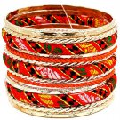 Orange Bracelet Bangle Stackable Fabric Exotic Print Various Hoops 2 Inch Width 2432-6653GDORG