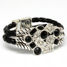 Black Bracelet Cord Crystal Studs Two Row Magnetic Braided Faceted Texture 1 1 2 I 210152-02191ASBLK
