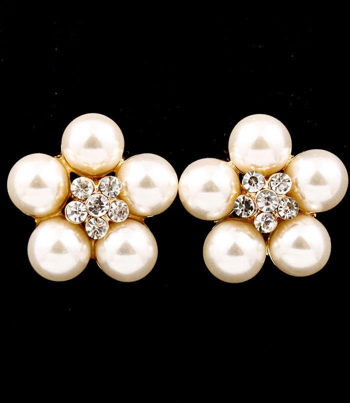 Clear Earring Post Earring Pearl Crystal Studs Flower 1 Inch Drop / 53535-9216GDCLR