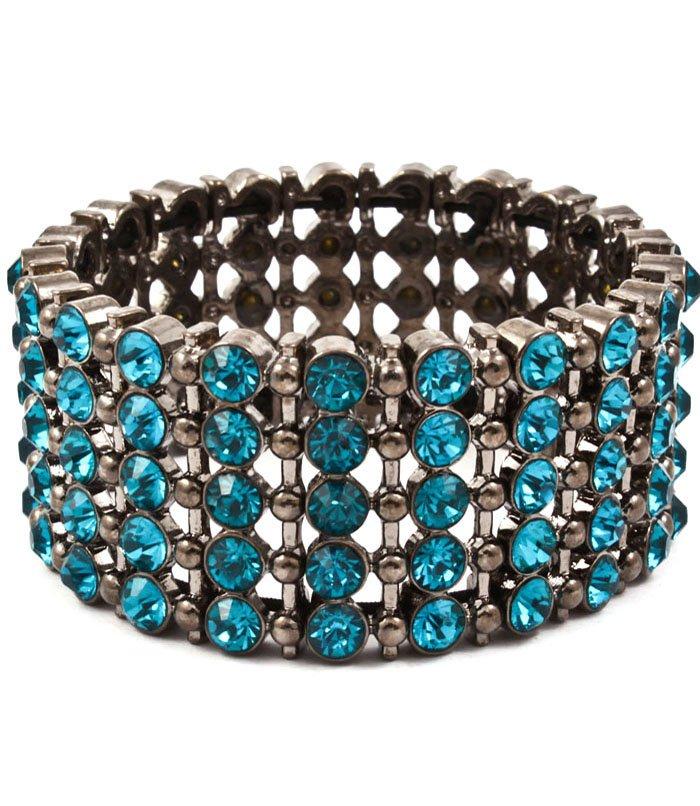Blue Bracelet Bangle Stretch Metal Casting Crystal Studs Hoop 2 1 2 Inch Width / 53235-91061BNBLU