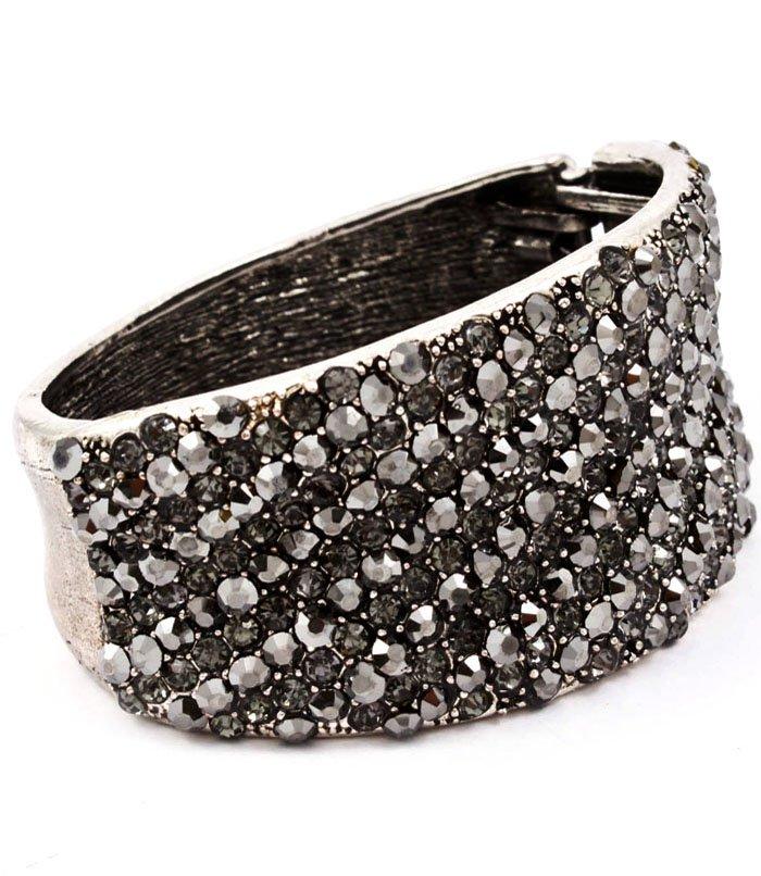 Black Bracelet Hinge Crystal Studs Metal Casting Texture 2 3 4 Inch Width / 53230-199RDBLK