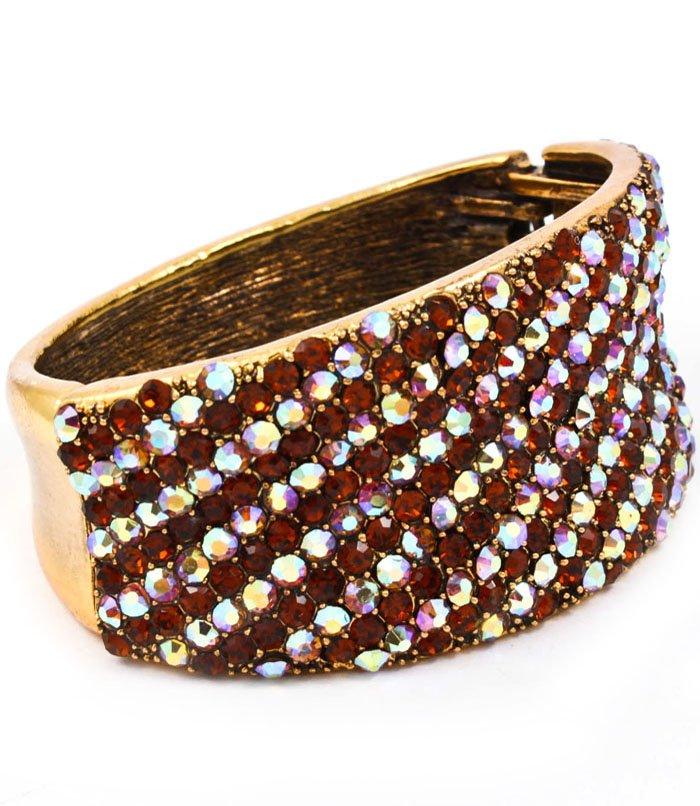 Brown Bracelet Hinge Crystal Studs Metal Casting Texture 2 3 4 Inch Width / 53230-199GDBRO