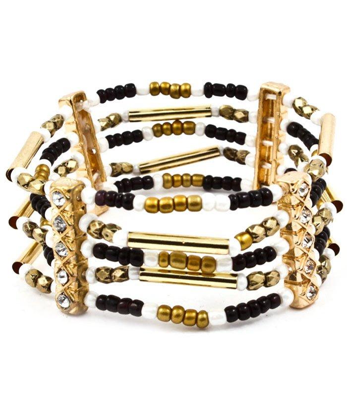 Black Bracelet Bangle Stretch Metal Casting Crystal Studs Bead Chain 2 1 2 Inch Width 4712-5618GDBLK
