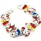 Multi Colored Bracelet Theme Magnetic Lock Metal Casting Painted Fire Fighter Dog 7 I 4712-3495RDMLT