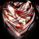 Red Fashion Scarf Satin Square Scarf Hill And Hand Bag Print 30% Silk 70% Polyester 36 45196-9914RED
