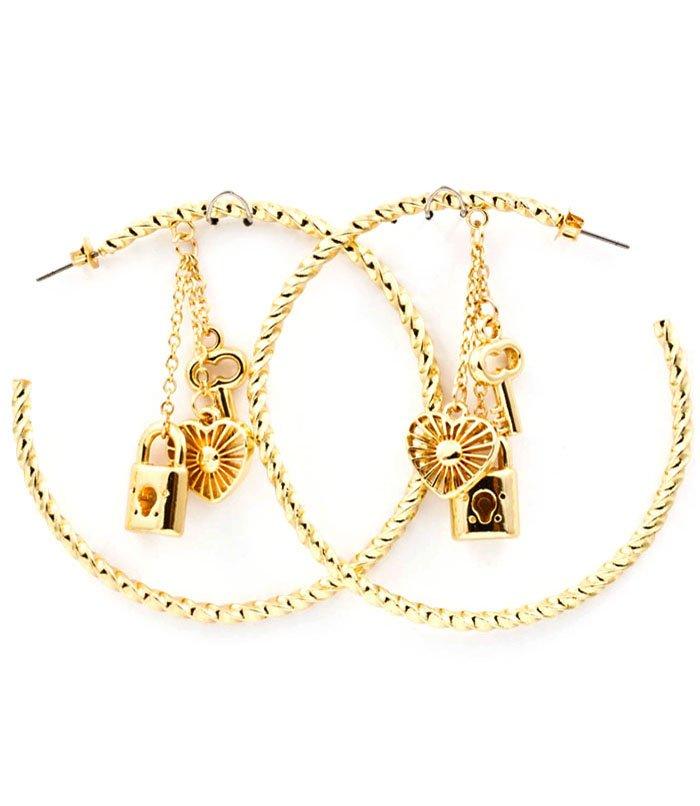 Clear Earring Post Earring Stud Metal Casting Charm Spiral Key Lock Heart 2 1 2 Inch 25185-9172GDCLR