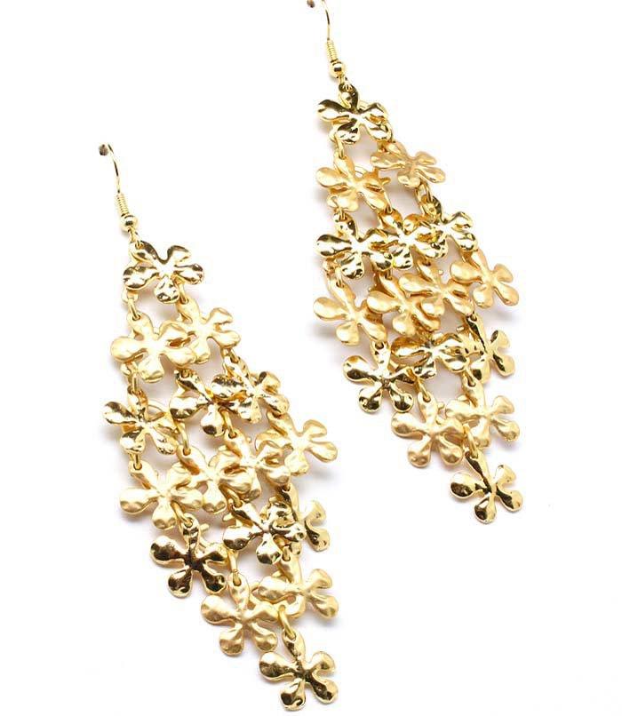 Gold Colored Earring Linear Drop Metal Casting Fish Hook 3 Inch Drop 25185-1122MGGOD