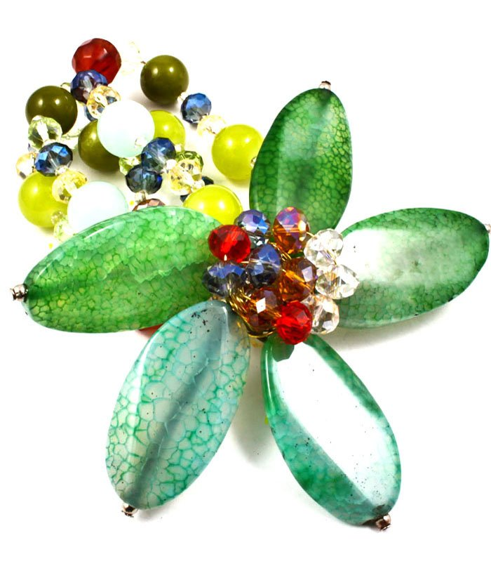 Green Bracelet Bangle Stretch Mixed Bead Flower Formica 3 Inch Width 43232-0224GRN